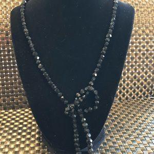 Vintage Black Crystal Bead Necklace
